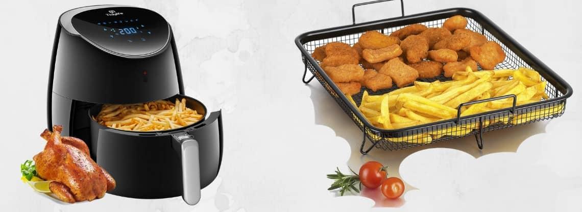 Frites et poulet sans huile